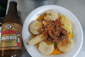 Breakfast - Mackerel In Hot tomato Sauce, Dumplings, Green Banana, Yam, Gingerbeer