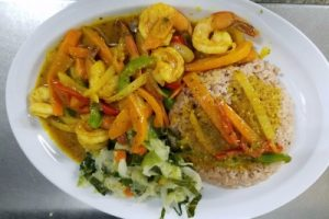 Curry Shrimp, Cabbage Rice&Peas